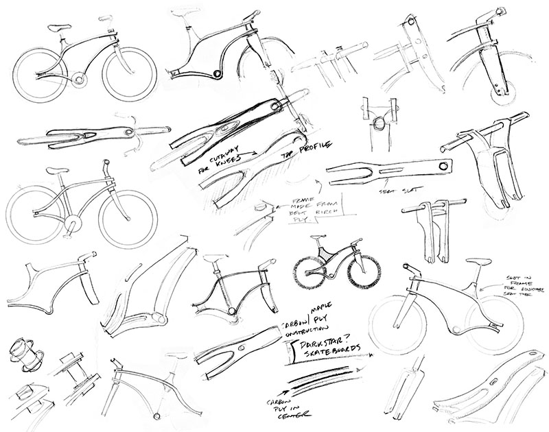 Bent-ply bike concept sketches by  James Thomas