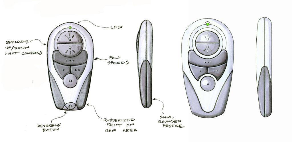 Marker sketches of a ceiling fan remote by James  Thomas